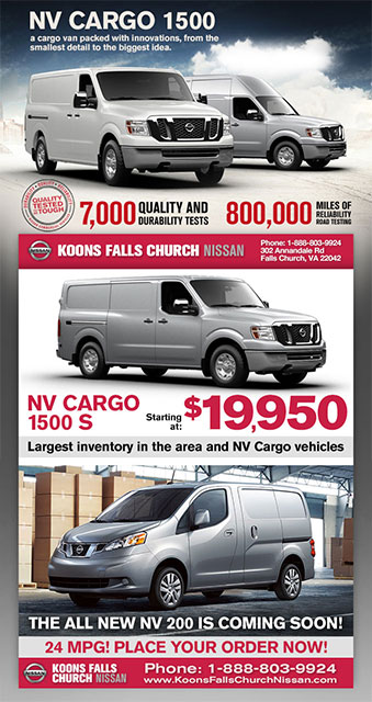 Email Blast By 72 Advertising Announcing To Koons Falls Church Nissan  Customers That The All New NV200 Is Coming Soon.